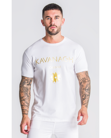 Gianni Kavanagh White Tee With GK Gold Hybrid Logo
