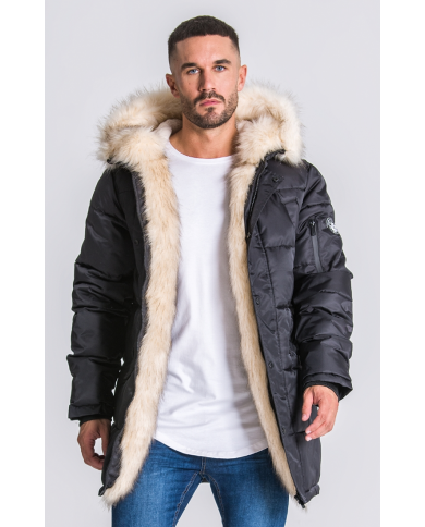 Gianni Kavanagh Black Wolf Coat With Beige Fur