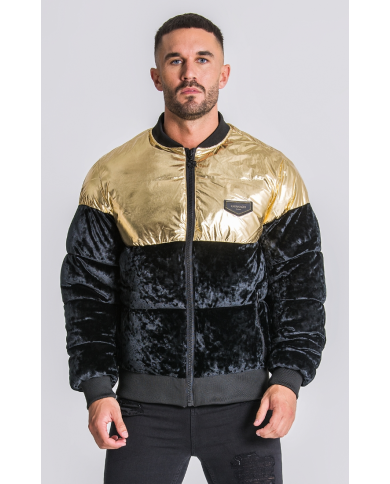 Gianni Kavanagh Gold/Black Block Bomber Jacket