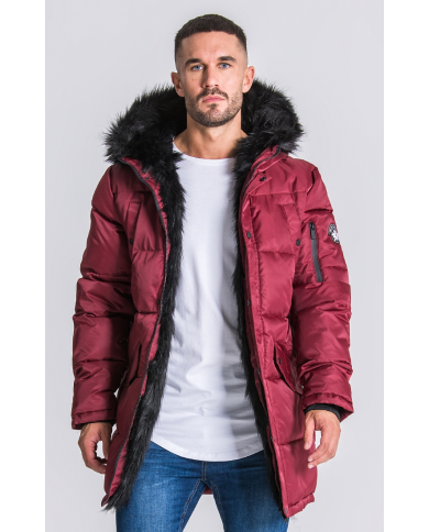 Gianni Kavanagh Burgundy Wolf Coat With Black Fur