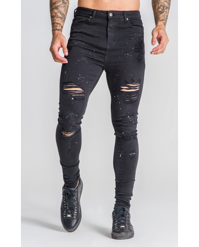 Gianni Kavanagh Black Jeans With Red And White Splatts