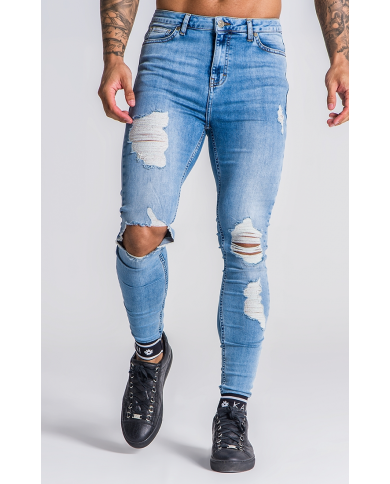 Light Blue Distressed Jeans With GK Elastic