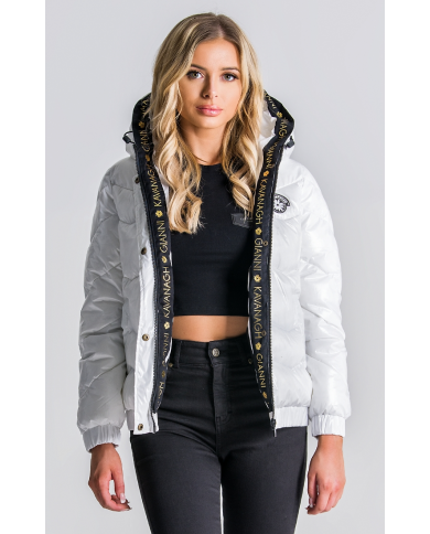 Gianni Kavanagh Shiny White Quilted Jacket