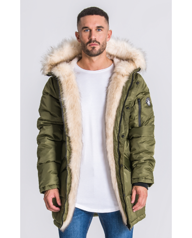 Gianni Kavanagh Green Wolf Coat With Beige Fur