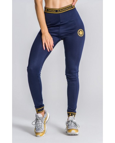 Gianni Kavanagh Navy Leggings With GK Gold Elastic