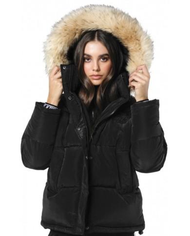 Sik Silk Short Parka Jacket Black
