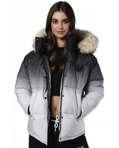 Sik Silk Short Parka Jacket Black & White