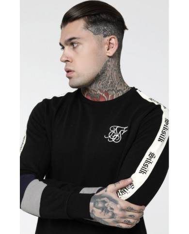 Sik Silk Retro Panel Tape Crew Sweater