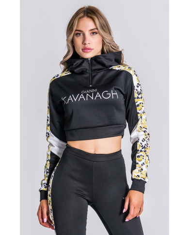Gianni Kavanagh White Baroque Leopard Cropped Hoodie