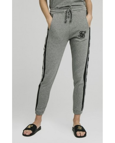 Sik Silk Panel Tape Joggers Grey Marl