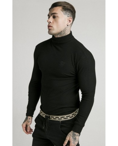 Sik Silk Brushed Rib Knit Turtle Neck Black