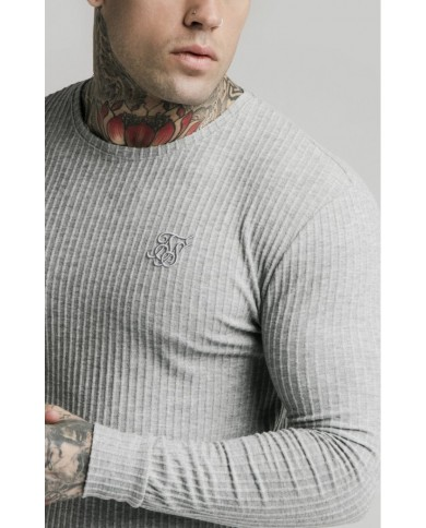 Sik Silk Brushed Rib Knit Gym Tee Grey