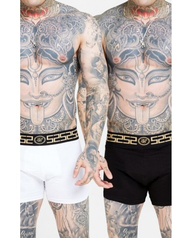 Sik Silk Cartel Tape Boxer Shorts (2 Pack) - Black & White
