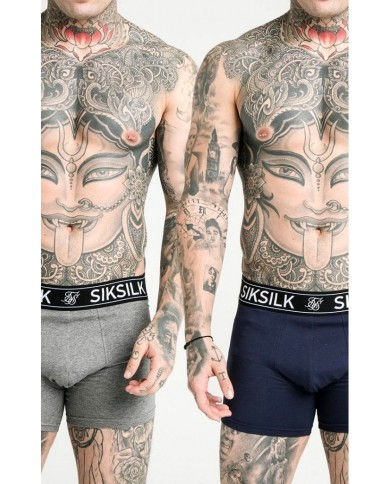 Sik Silk Boxer Shorts (2 Pack) - Navy & Grey Marl