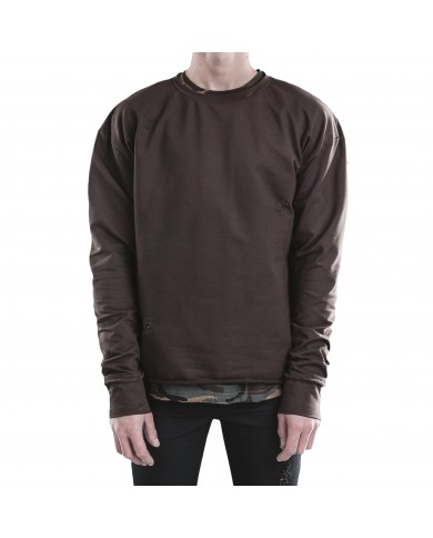 Goldie Vision Brown Distressed Crewneck