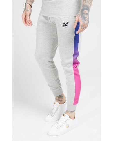 Sik Silk Muscle Fit Fade Panel Jogger Grey Marl & Neon