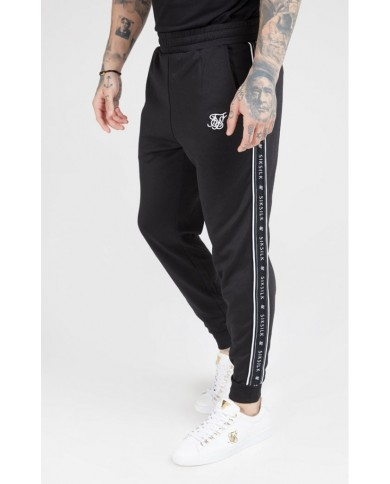 Sik Silk Fitted Panel Tape Track Pants Black