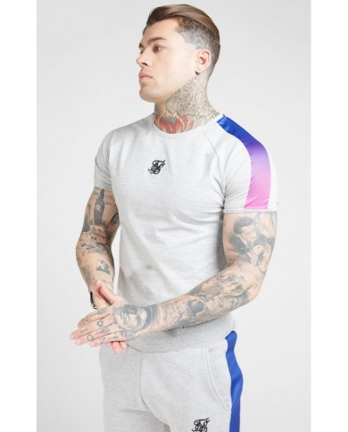 Sik Silk Marl Fade Panel Tech Tee Grey Marl & Neon