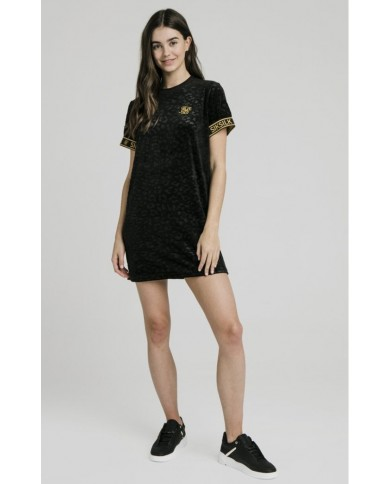 Sik Silk Debossed Velour T-Shirt Dress Black
