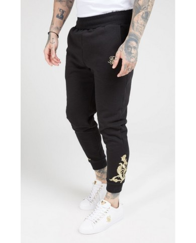 Sik Silk Fitted Joggers Jet Black & Gold