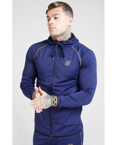 Sik Silk Scope Cartel Zip Through Hoodie Navy & Gold
