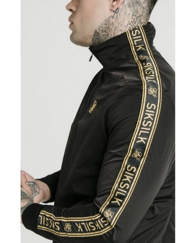 Sik Silk Quarter Zip Funnel Neck Track Top Black & Gold