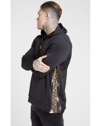 Sik Silk Side Zip Tape Hybrid Hoodie Black & Oil Paint