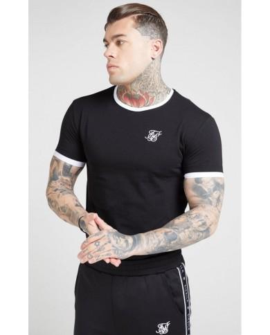 Sik Silk Inset Straight Hem Ringer Gym Tee Black & White