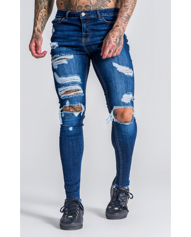Roone Roman Medium Blue Burlesque Ripped Jeans