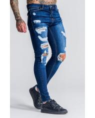 Roone Roman Medium Blue Burlesque Ripped Jeans