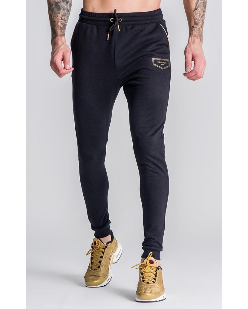 Gianni Kavanagh Black/Gold GK Plaque 2.0 Joggers