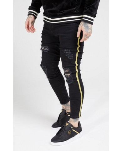 Sik Silk Distressed Skinny Taped Denims Washed Black