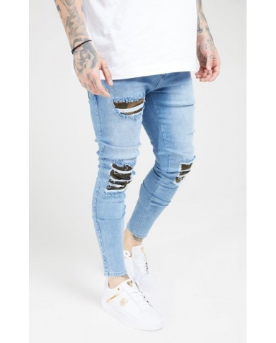 Sik Silk Burst Knee Low Rise Denims Midstone