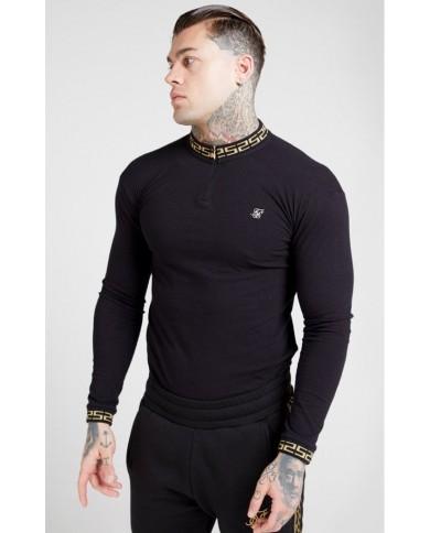 Sik Silk Chain Rib Collar Polo Black & Gold
