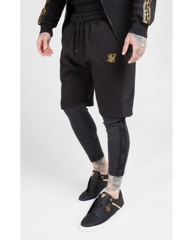 Sik Silk Nylon Panel Relaxed Fit Shorts Black & Gold