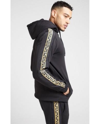 Sik Silk Nylon Panel Zip Through Hoodie Black & Gold
