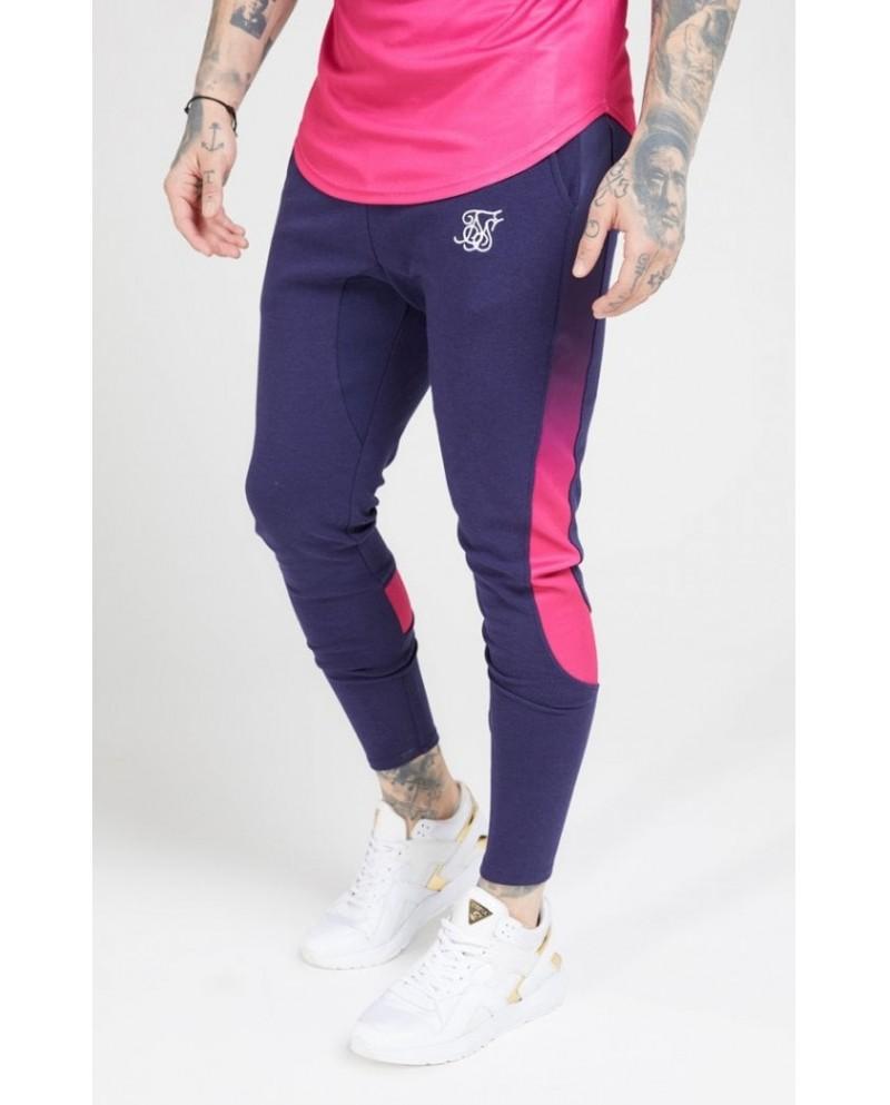 Sik Silk Athlete Tech Fade Track Pants Navy & Neon Fade