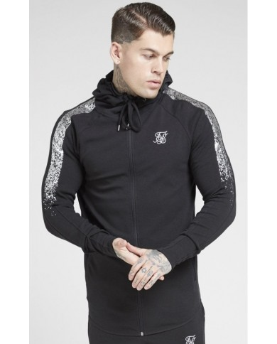 Sik Silk Fade Panel Zip Through Hoodie Black & Silver