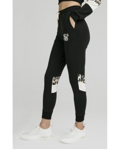 Sik Silk Leopard Panel Track Pants Black