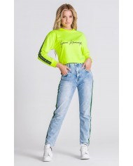 Gianni Kavanagh Yellow Neo Signature Cropped Sweater