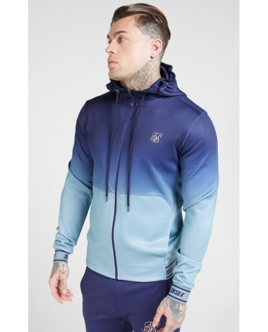 Sik Silk Agility Zip Through Hoodie Urban Blue & Grey