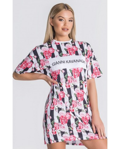 Gianni Kavanagh Pink Racer Roses Tee Dress