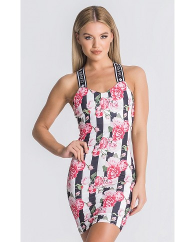 Gianni Kavanagh Pink Racer Roses Dress With GK Elastic Straps
