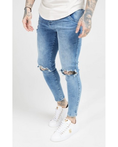 Sik Silk Skinny Distressed Slice Knee Denims Midstone Blue